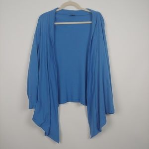 Rafaella Open Front Blue Draped Cardigan Size 2X